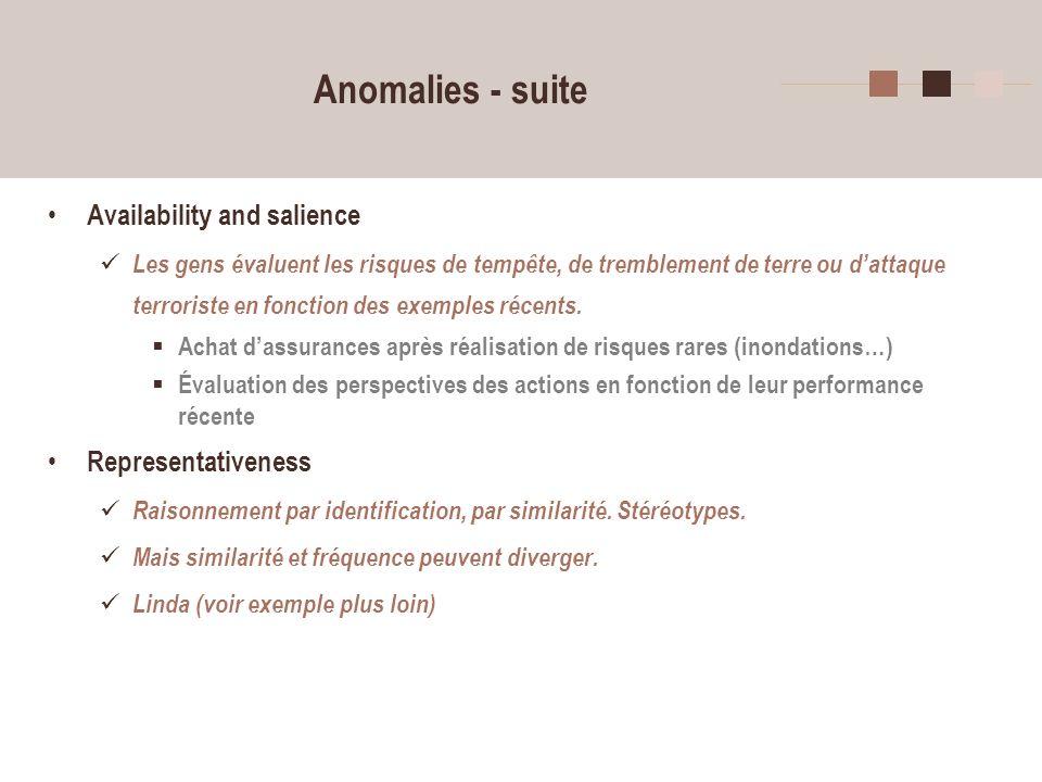 10 Anomalies - suite Availability and salience Les gens évaluent les risques de tempête, de tremblement de terre ou dattaque terroriste en fonction de