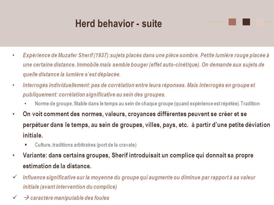 14 Herd behavior - suite Expérience de Muzafer Sherif (1937):sujets placés dans une pièce sombre. Petite lumière rouge placée à une certaine distance.