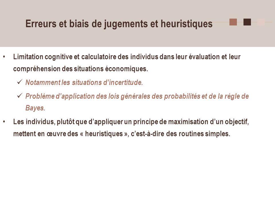 17 Erreurs et biais de jugements et heuristiques Limitation cognitive et calculatoire des individus dans leur évaluation et leur compréhension des sit