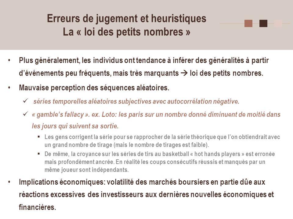 19 Erreurs de jugement et heuristiques La « loi des petits nombres » Plus généralement, les individus ont tendance à inférer des généralités à partir