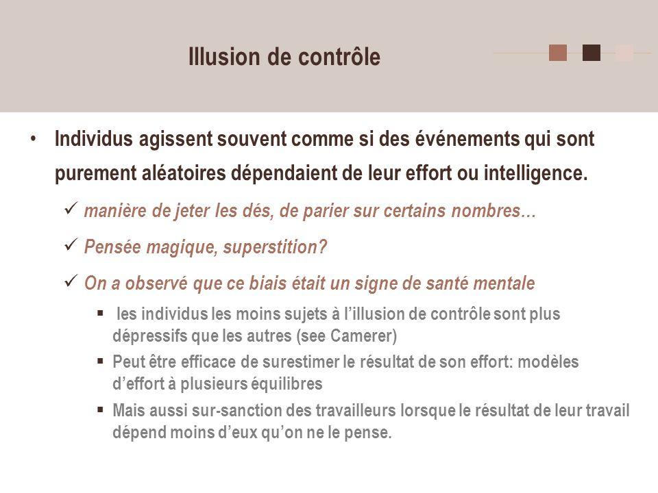 21 Illusion de contrôle Individus agissent souvent comme si des événements qui sont purement aléatoires dépendaient de leur effort ou intelligence. ma
