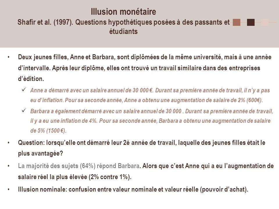 25 Illusion monétaire Shafir et al. (1997). Questions hypothétiques posées à des passants et étudiants Deux jeunes filles, Anne et Barbara, sont diplô