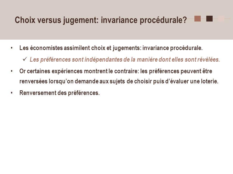 33 Choix versus jugement: invariance procédurale? Les économistes assimilent choix et jugements: invariance procédurale. Les préférences sont indépend