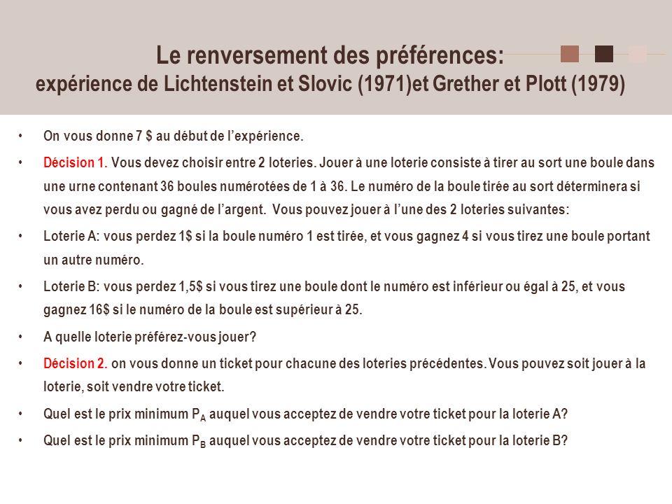 34 Le renversement des préférences: expérience de Lichtenstein et Slovic (1971)et Grether et Plott (1979) On vous donne 7 $ au début de lexpérience. D