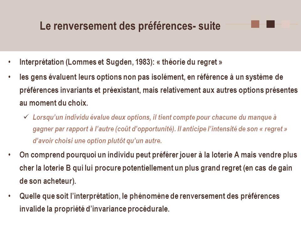 36 Le renversement des préférences- suite Interprétation (Lommes et Sugden, 1983): « théorie du regret » les gens évaluent leurs options non pas isolé