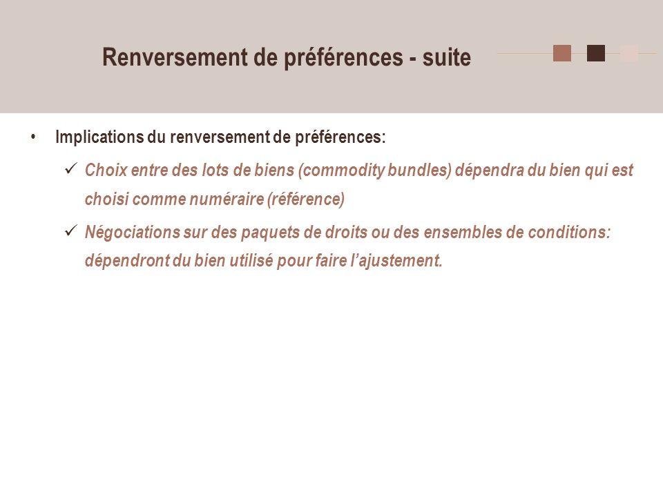 37 Renversement de préférences - suite Implications du renversement de préférences: Choix entre des lots de biens (commodity bundles) dépendra du bien