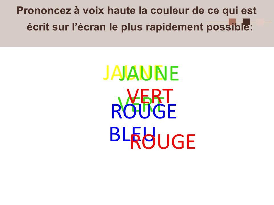 4 Prononcez à voix haute la couleur de ce qui est écrit sur lécran le plus rapidement possible: JAUNE VERT BLEU ROUGE JAUNE ROUGE VERT