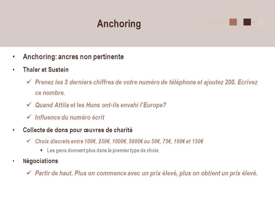 9 Anchoring Anchoring: ancres non pertinente Thaler et Sustein Prenez les 3 derniers chiffres de votre numéro de téléphone et ajoutez 200. Ecrivez ce