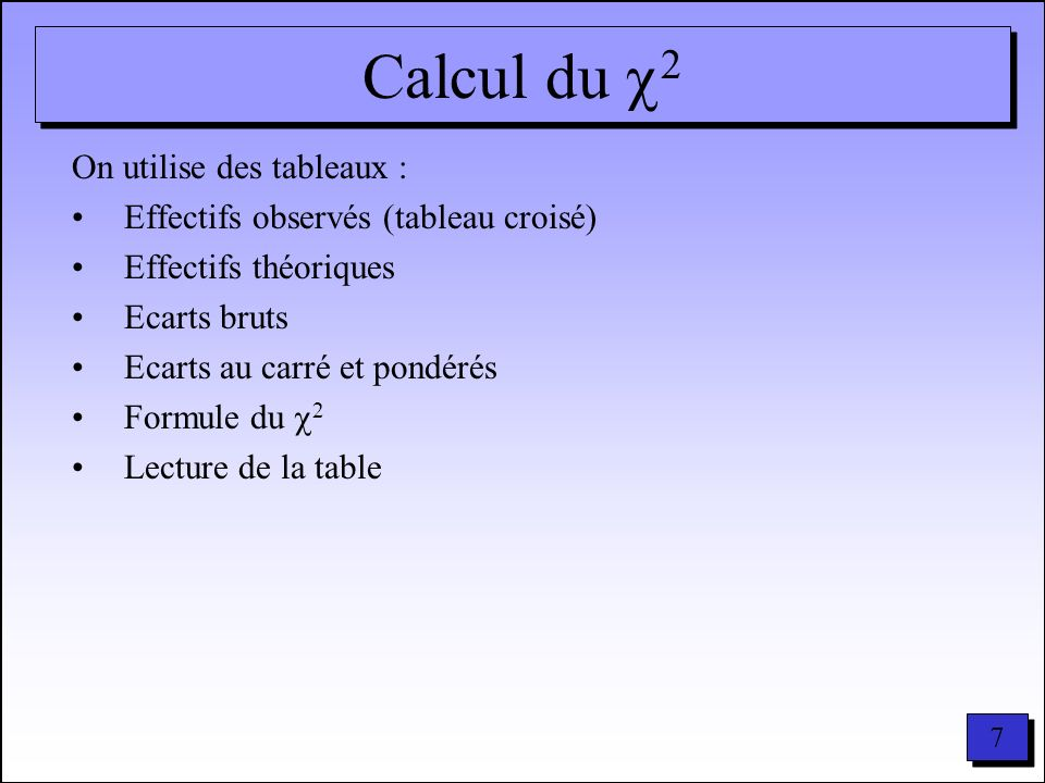 7 7 Calcul du 2 On utilise des tableaux : Effectifs observés (tableau croisé) Effectifs théoriques Ecarts bruts Ecarts au carré et pondérés Formule du