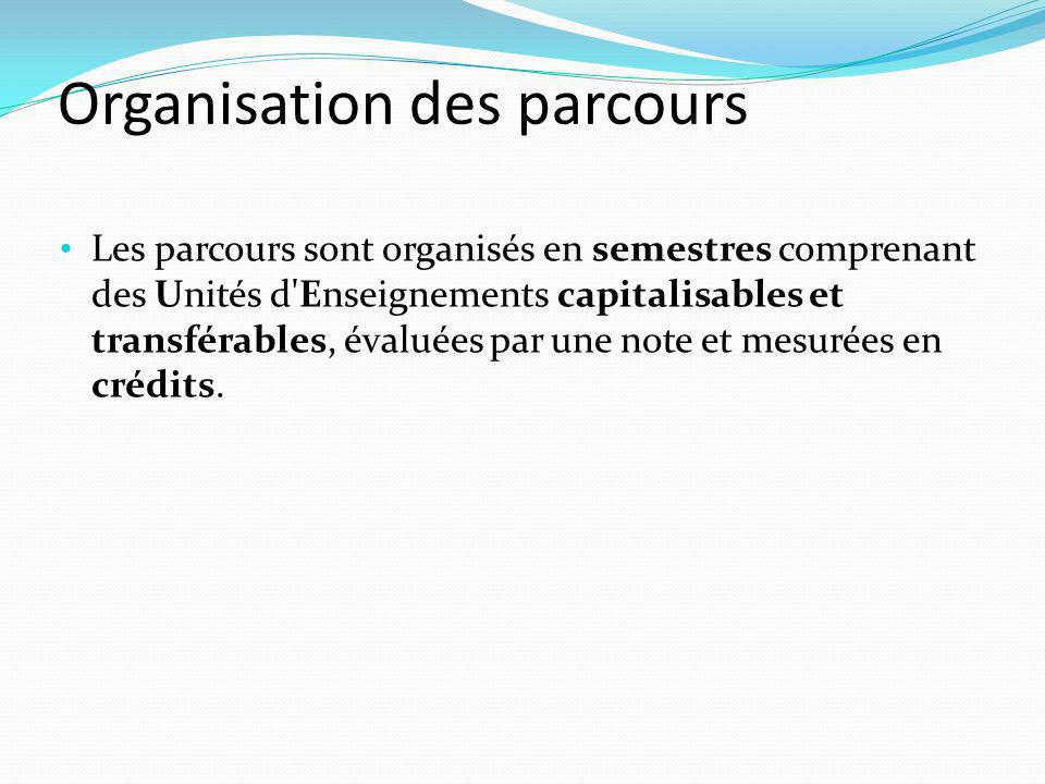 Organisation des parcours Les parcours sont organisés en semestres comprenant des Unités d Enseignements capitalisables et transférables, évaluées par une note et mesurées en crédits.