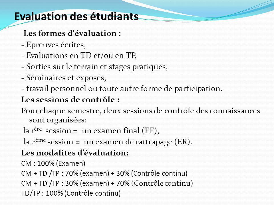 Evaluation des étudiants Les formes d évaluation : - Epreuves écrites, - Evaluations en TD et/ou en TP, - Sorties sur le terrain et stages pratiques, - Séminaires et exposés, - travail personnel ou toute autre forme de participation.