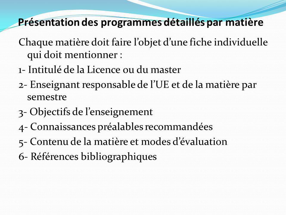 Présentation des programmes détaillés par matière Chaque matière doit faire lobjet dune fiche individuelle qui doit mentionner : 1- Intitulé de la Licence ou du master 2- Enseignant responsable de lUE et de la matière par semestre 3- Objectifs de lenseignement 4- Connaissances préalables recommandées 5- Contenu de la matière et modes dévaluation 6- Références bibliographiques