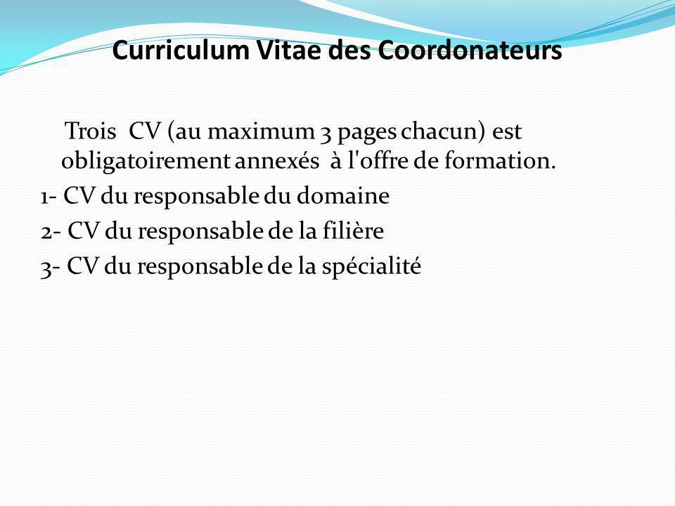 Curriculum Vitae des Coordonateurs Trois CV (au maximum 3 pages chacun) est obligatoirement annexés à l offre de formation.