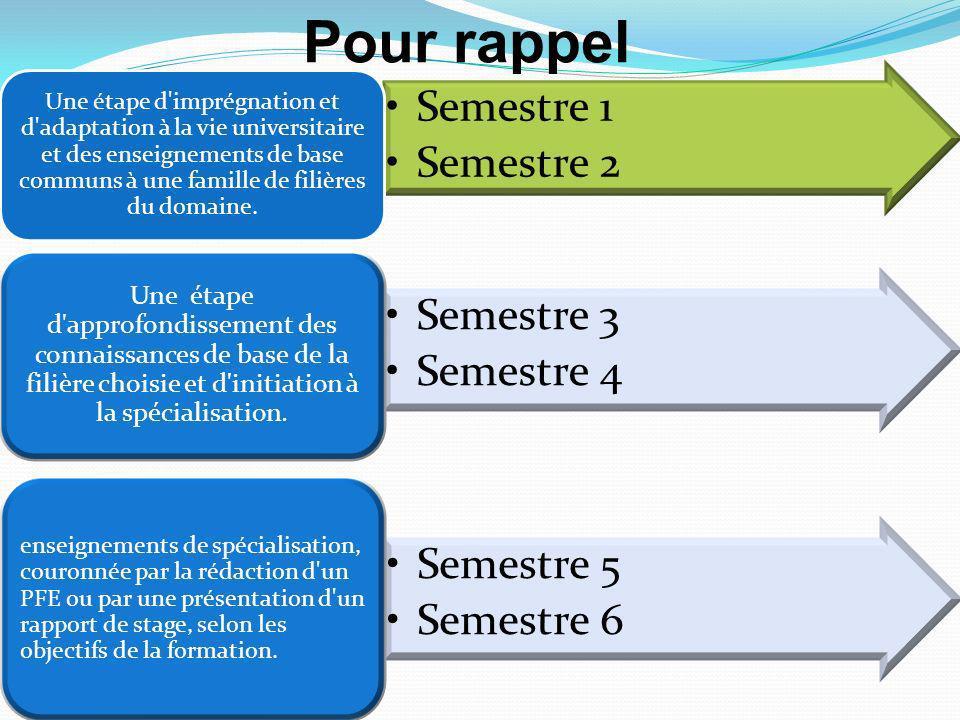 Semestre 1 Semestre 2 Une étape d imprégnation et d adaptation à la vie universitaire et des enseignements de base communs à une famille de filières du domaine.
