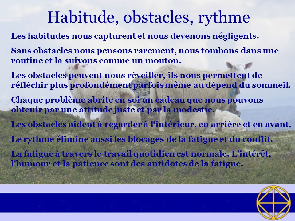 Habitude, obstacles, rythme Les habitudes nous capturent et nous devenons négligents. Sans obstacles nous pensons rarement, nous tombons dans une rout