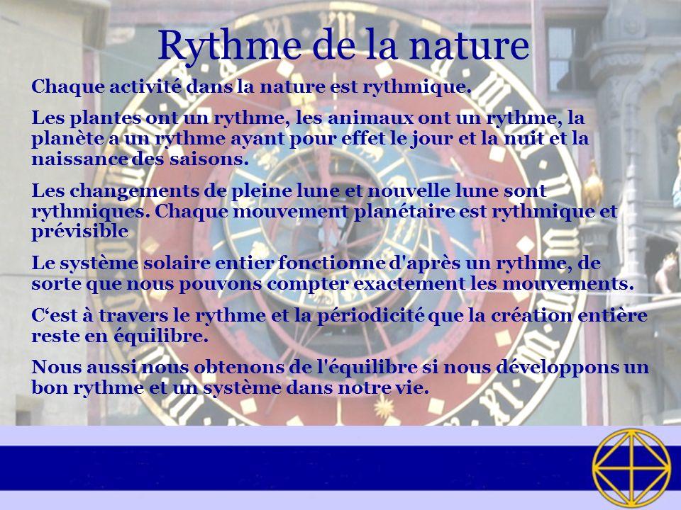 Rythme de la nature Chaque activité dans la nature est rythmique. Les plantes ont un rythme, les animaux ont un rythme, la planète a un rythme ayant p