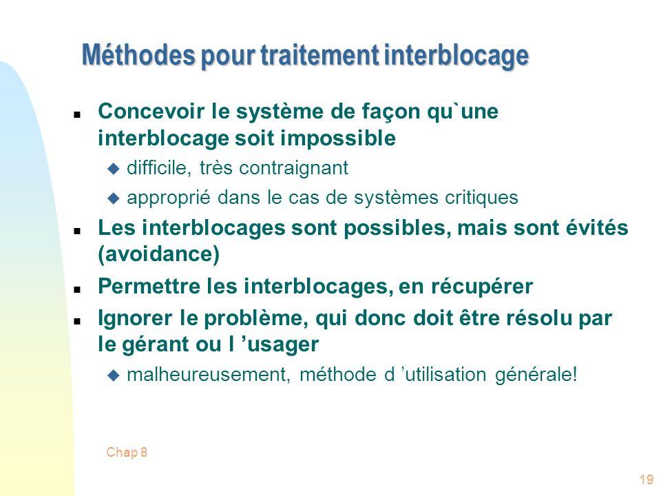 Chap 8 19 Méthodes pour traitement interblocage n Concevoir le système de façon qu`une interblocage soit impossible u difficile, très contraignant u a