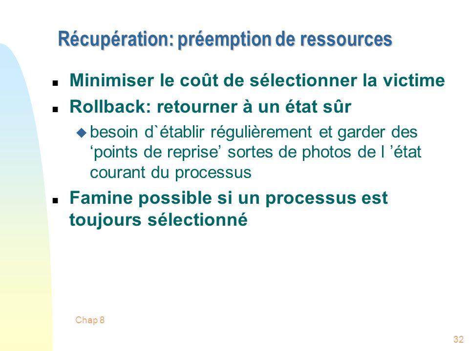 Chap 8 32 Récupération: préemption de ressources n Minimiser le coût de sélectionner la victime n Rollback: retourner à un état sûr u besoin d`établir