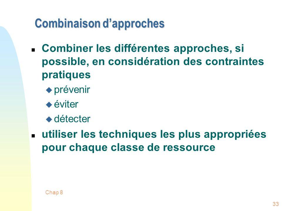 Chap 8 33 Combinaison dapproches n Combiner les différentes approches, si possible, en considération des contraintes pratiques u prévenir u éviter u détecter n utiliser les techniques les plus appropriées pour chaque classe de ressource