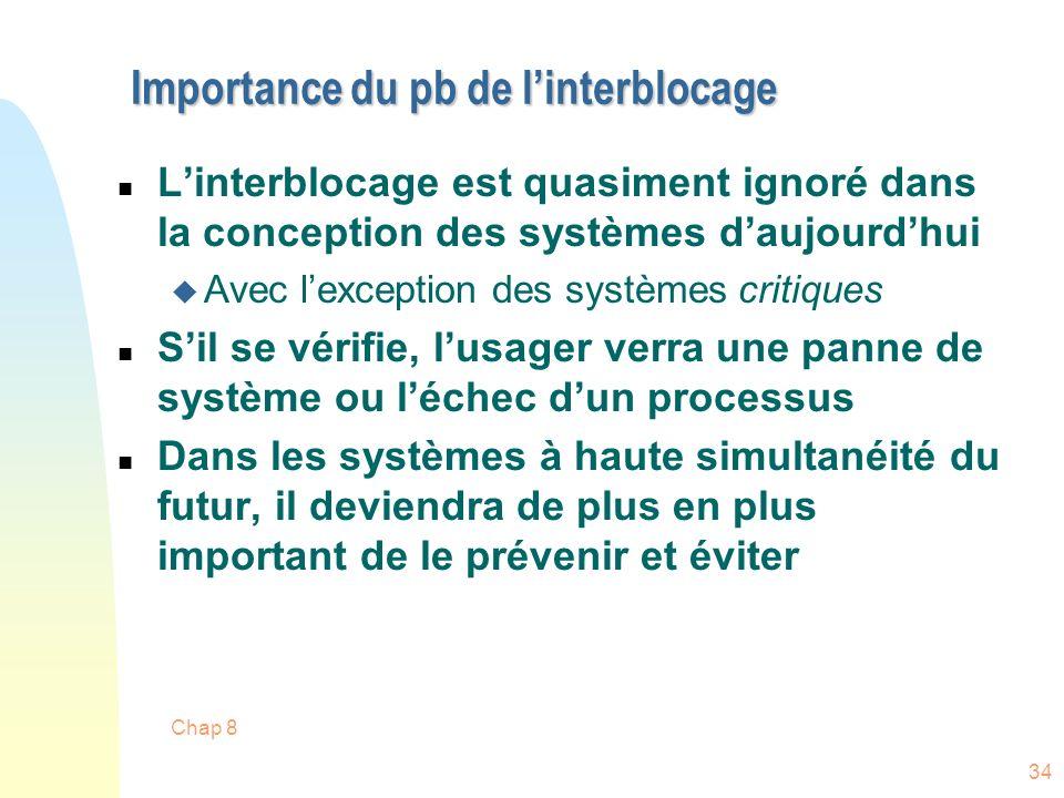 Chap 8 34 Importance du pb de linterblocage n Linterblocage est quasiment ignoré dans la conception des systèmes daujourdhui u Avec lexception des sys