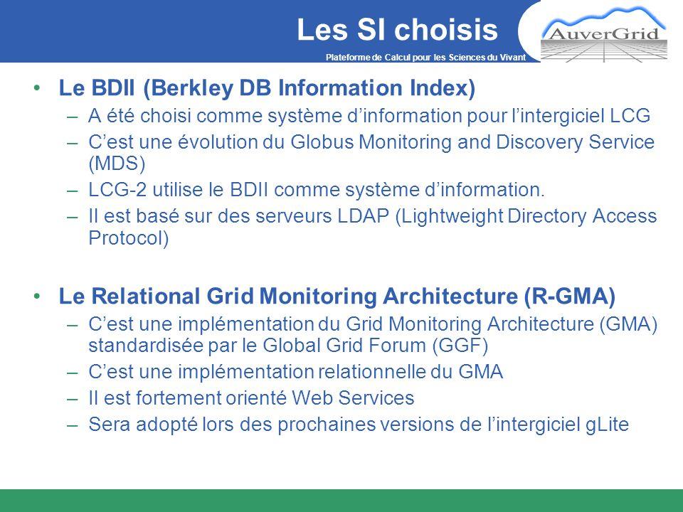 Plateforme de Calcul pour les Sciences du Vivant Les SI choisis Le BDII (Berkley DB Information Index) –A été choisi comme système dinformation pour l
