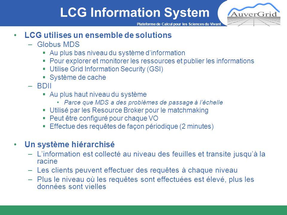 Plateforme de Calcul pour les Sciences du Vivant LCG Information System LCG utilises un ensemble de solutions –Globus MDS Au plus bas niveau du systèm