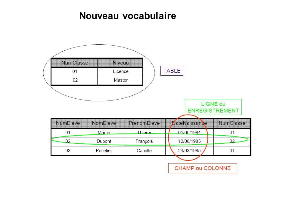Nouveau vocabulaire