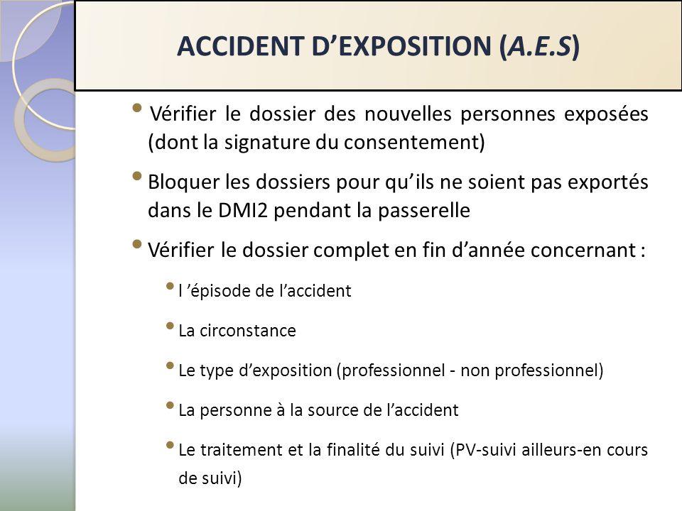 Vérifier le dossier des nouvelles personnes exposées (dont la signature du consentement) Bloquer les dossiers pour quils ne soient pas exportés dans le DMI2 pendant la passerelle Vérifier le dossier complet en fin dannée concernant : l épisode de laccident La circonstance Le type dexposition (professionnel - non professionnel) La personne à la source de laccident Le traitement et la finalité du suivi (PV-suivi ailleurs-en cours de suivi) ACCIDENT DEXPOSITION (A.E.S)