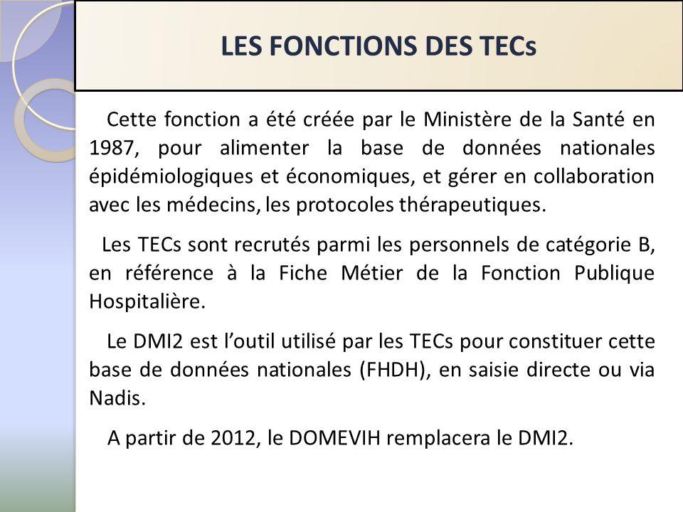 LES FONCTIONS DES TECs Cette fonction a été créée par le Ministère de la Santé en 1987, pour alimenter la base de données nationales épidémiologiques et économiques, et gérer en collaboration avec les médecins, les protocoles thérapeutiques.