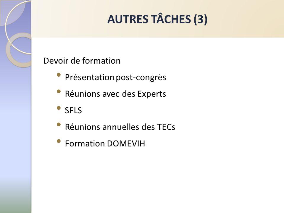 AUTRES TÂCHES (3) Devoir de formation Présentation post-congrès Réunions avec des Experts SFLS Réunions annuelles des TECs Formation DOMEVIH