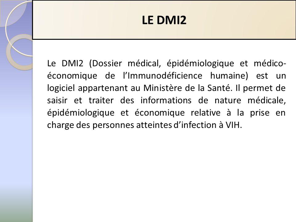 LE DMI2 Le DMI2 (Dossier médical, épidémiologique et médico- économique de lImmunodéficience humaine) est un logiciel appartenant au Ministère de la Santé.