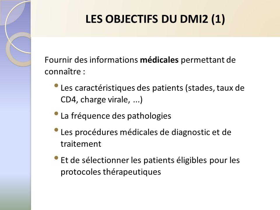 LES OBJECTIFS DU DMI2 (1) Fournir des informations médicales permettant de connaître : Les caractéristiques des patients (stades, taux de CD4, charge