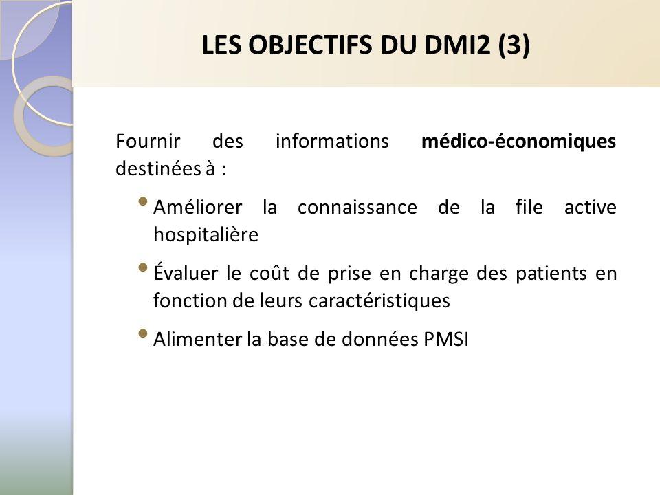 LES OBJECTIFS DU DMI2 (3) Fournir des informations médico-économiques destinées à : Améliorer la connaissance de la file active hospitalière Évaluer l