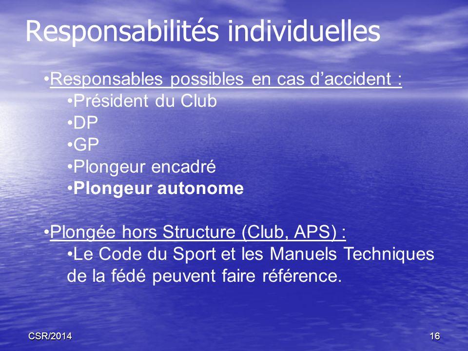 CSR/201416 Responsabilités individuelles Responsables possibles en cas daccident : Président du Club DP GP Plongeur encadré Plongeur autonome Plongée