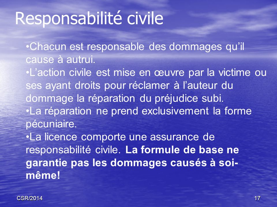 CSR/201417 Responsabilité civile Chacun est responsable des dommages quil cause à autrui. Laction civile est mise en œuvre par la victime ou ses ayant