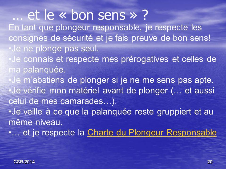 CSR/201420 … et le « bon sens » ? En tant que plongeur responsable, je respecte les consignes de sécurité et je fais preuve de bon sens! Je ne plonge