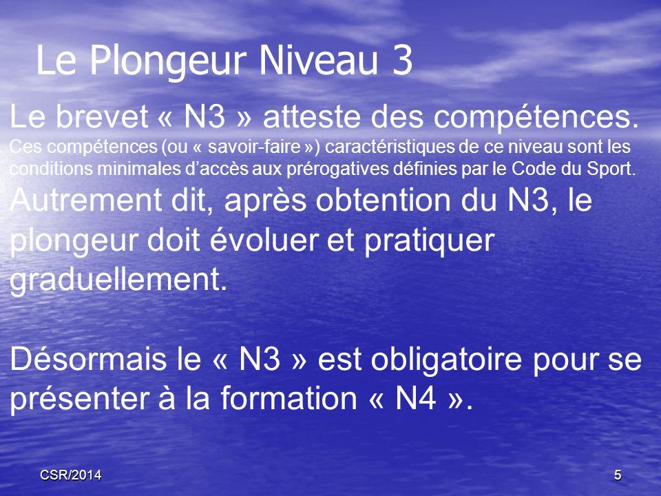CSR/20145 Le brevet « N3 » atteste des compétences. Ces compétences (ou « savoir-faire ») caractéristiques de ce niveau sont les conditions minimales