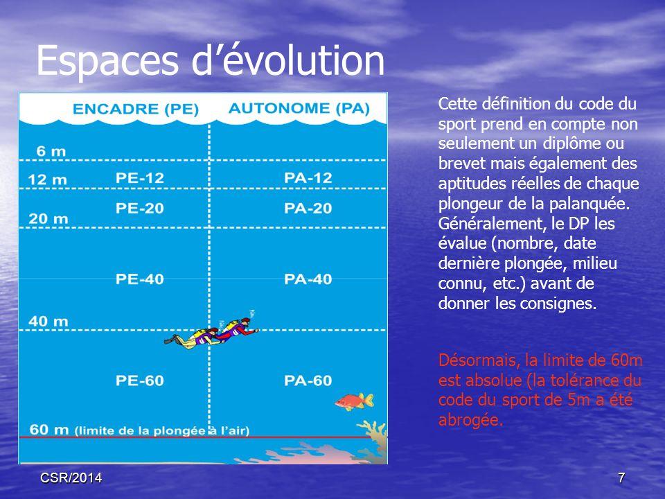 CSR/20147 Espaces dévolution Cette définition du code du sport prend en compte non seulement un diplôme ou brevet mais également des aptitudes réelles