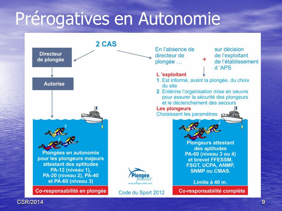 CSR/20149 Prérogatives en Autonomie