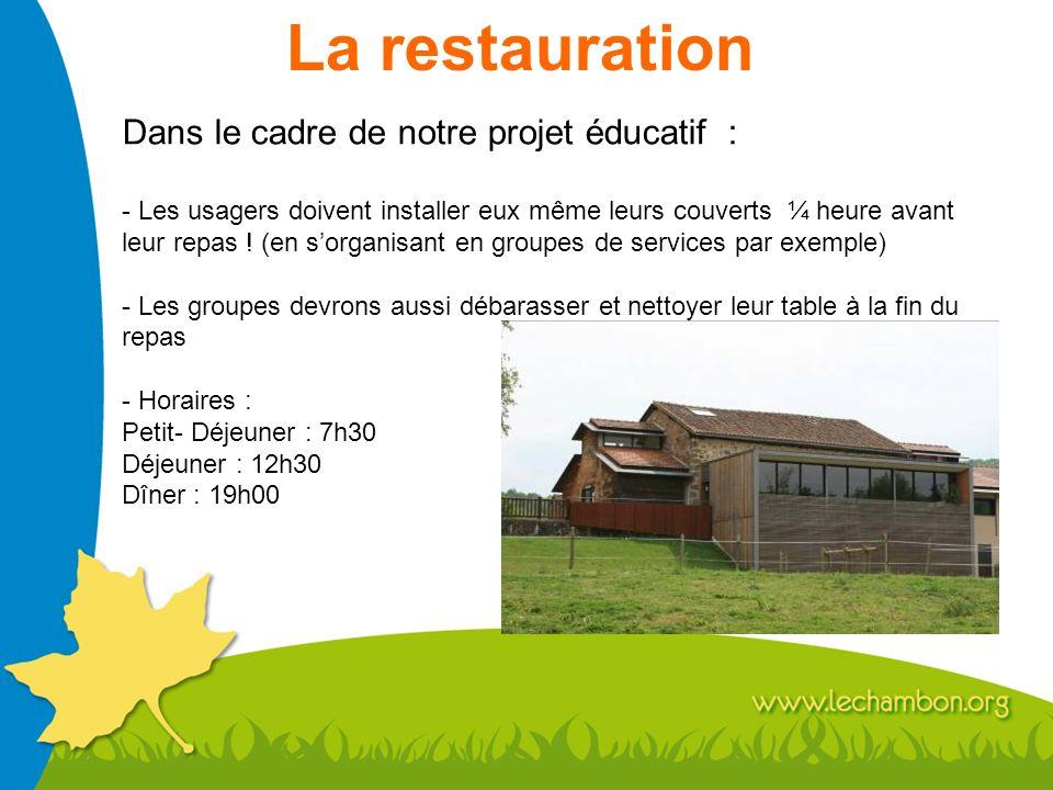 La restauration Dans le cadre de notre projet éducatif : - Les usagers doivent installer eux même leurs couverts ¼ heure avant leur repas ! (en sorgan