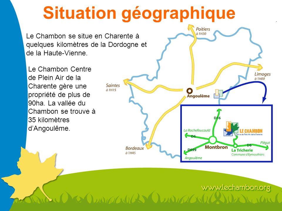 Situation géographique Le Chambon se situe en Charente à quelques kilomètres de la Dordogne et de la Haute-Vienne. Le Chambon Centre de Plein Air de l
