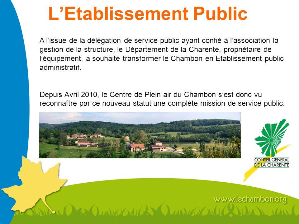 LEtablissement Public A lissue de la délégation de service public ayant confié à lassociation la gestion de la structure, le Département de la Charent