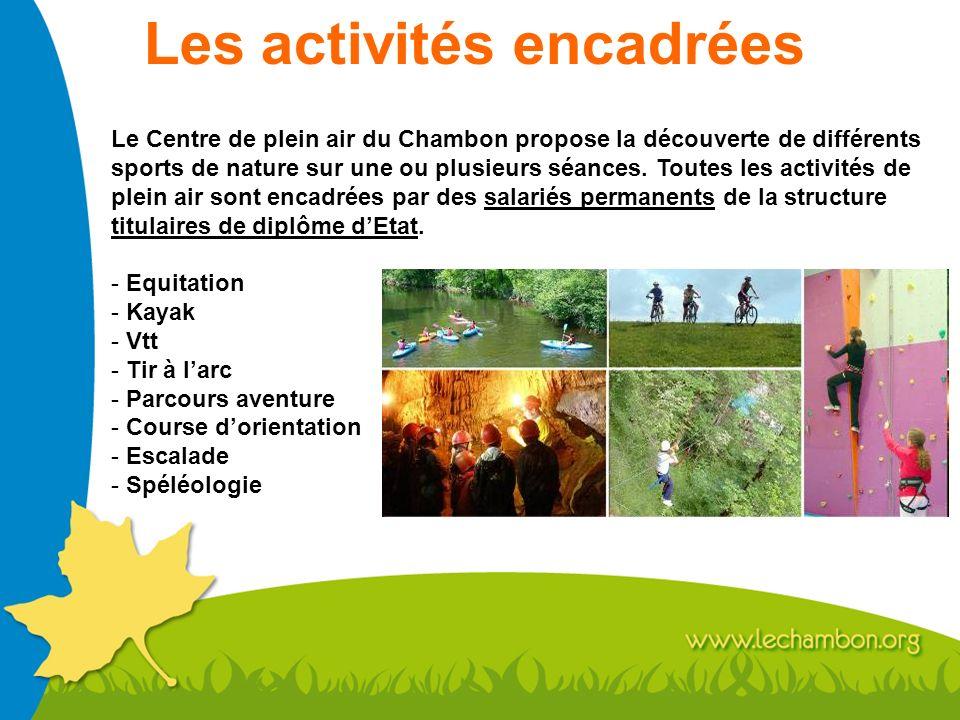 Les activités encadrées Le Centre de plein air du Chambon propose la découverte de différents sports de nature sur une ou plusieurs séances. Toutes le