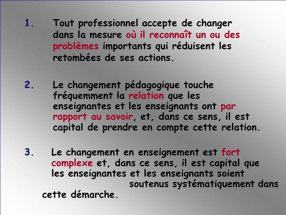 Les idées suivantes guideraient mes actions professionnelles en vue de soutenir le changement pédagogique chez les enseignantes et les enseignants de