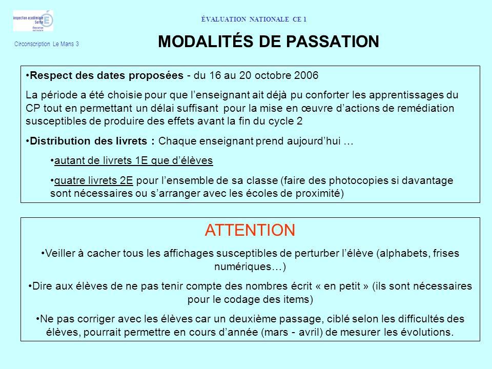 ÉVALUATION NATIONALE CE 1 MODALITÉS DE PASSATION Respect des dates proposées - du 16 au 20 octobre 2006 La période a été choisie pour que lenseignant