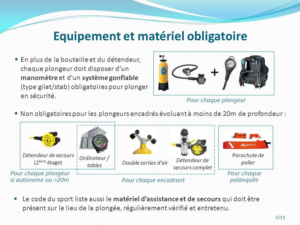 5/13 Equipement et matériel obligatoire En plus de la bouteille et du détendeur, chaque plongeur doit disposer dun manomètre et dun système gonflable (type gilet/stab) obligatoires pour plonger en sécurité.