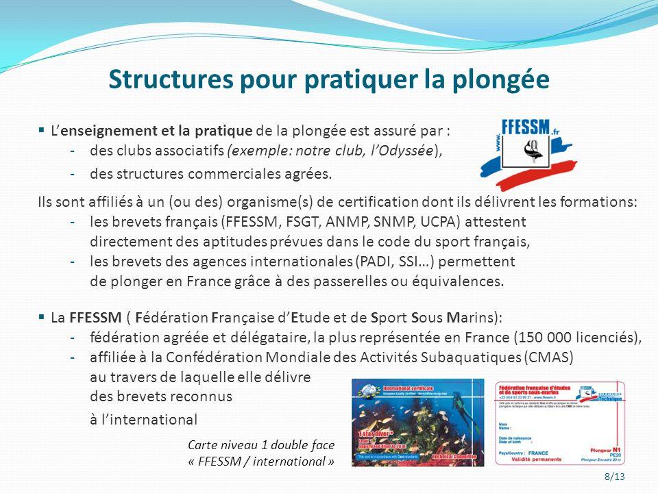 8/13 Lenseignement et la pratique de la plongée est assuré par : -des clubs associatifs (exemple: notre club, lOdyssée), -des structures commerciales agrées.