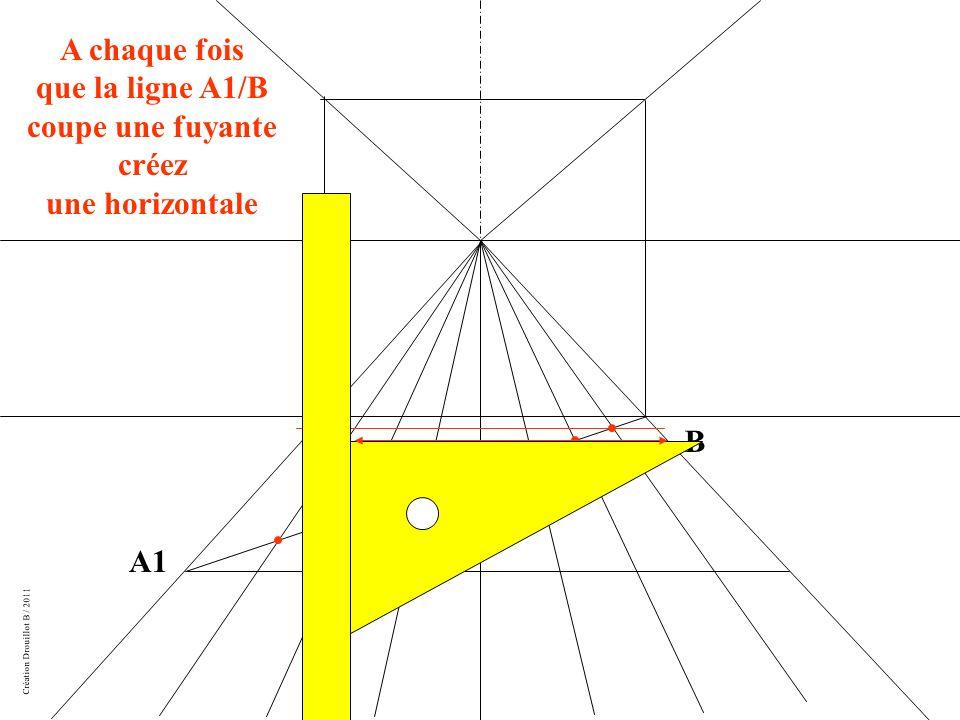 Création Drouillot B / 2011 A1 B A chaque fois que la ligne A1/B coupe une fuyante créez une horizontale
