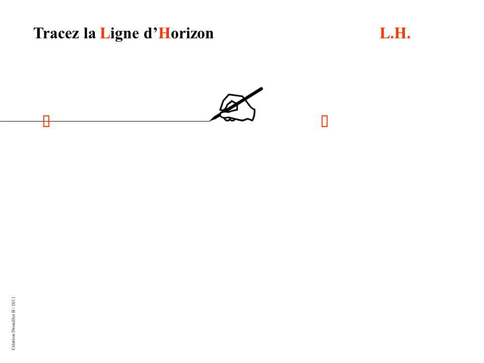 Création Drouillot B / 2011 Mesurez 10 cm au moins deux fois à partir de la Ligne dHorizon, faites des repères pour que votre Ligne de Sol soit bien parallèle à L.H.