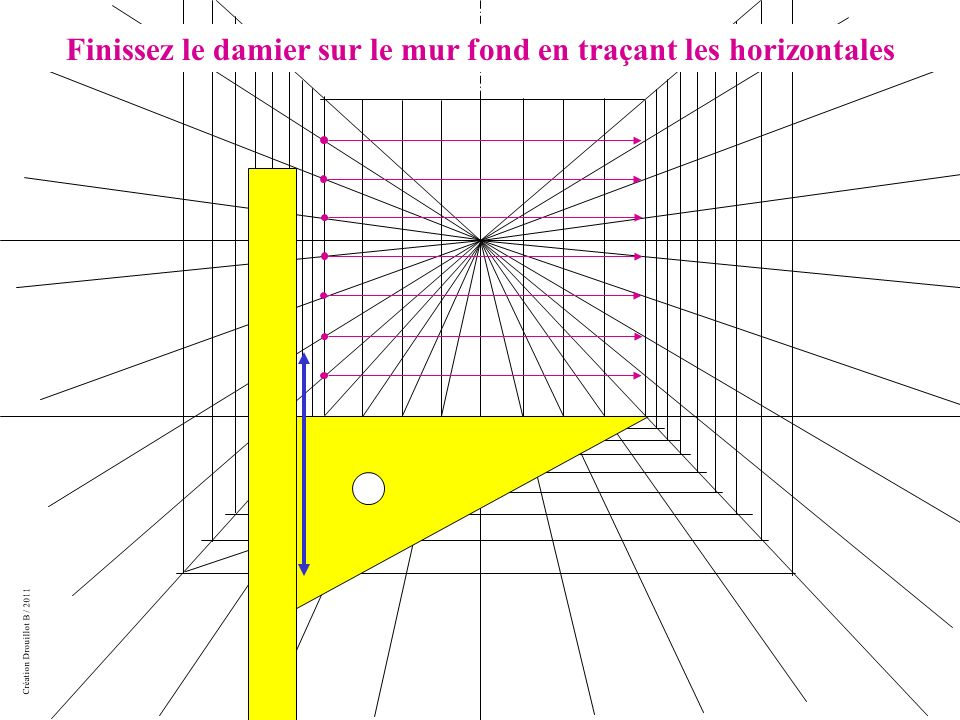Création Drouillot B / 2011 Finissez le damier sur le mur fond en traçant les horizontales